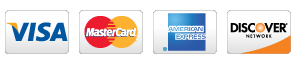 Pay with Visa, MasterCard, American Express, Discover